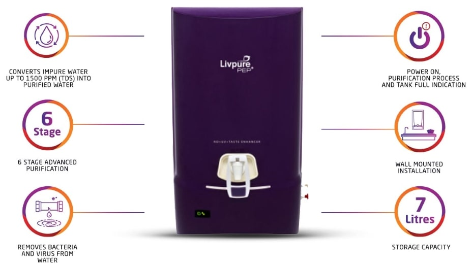 Livpure Pep Pro++ 7 L RO + UV +UF Water Purifier